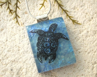 Sea Turtle Necklace, Fused Glass Pendant, Dichroic Fused Glass Jewelry, Fused Glass Jewelry, Sea Life Necklace, Turtle Necklace,  060316p108