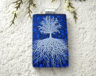Tree of Life, Fused Glass Jewelry, Dichroic Glass Pendant,, Dichroic Jewelry, Rooted Tree, Blue Nature Jewelry, Silver Necklace, 061116p101