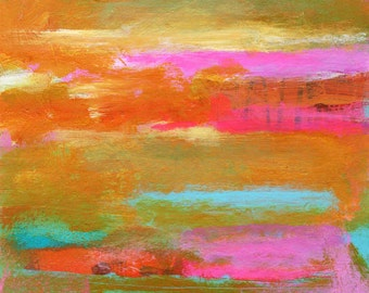 Abstract Painting on Paper with Pink, Orange and Turquoise Design - 8 x 8