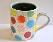 Multi-colored Polka Dot Stoneware Mug
