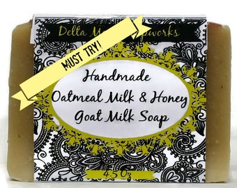 Best selling Handmade Oatmeal Milk & Honey Goat Milk Soap, Shea Butter soap, Honey Oatmeal Soap, Goat Milk Soap, ready to ship, cold process