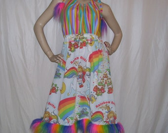 Rainbow Pride Dress with Fur Furry Hem Halloween Upcycled Vintage 1983 Brite Fabric Gay Parade Geek Hippie Sundress OOAK S to L Adult