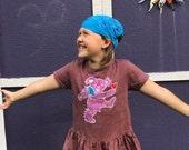 Batik Dancing Bear Ruffle Tee- Girl's XS, S, M, or L