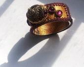 EBWC . Beadwoven Druzy Crystal Bracelet .Golden Raw Mineral Rock. Purple Rhinestone Statement Cuff - Meteorite Cuff by enchantedbeas on Etsy