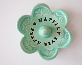 Happily Ever After Keepsake Ring Dish with Words, Clay Pottery Jewelry organizer