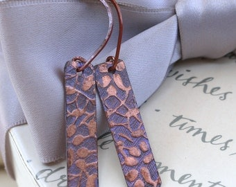 Copper Patina Drop Earrings with choice of two colors and two earwire styles