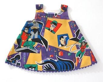 Batman & Robin Girls Dress, Toddler Dress, Baby Dress, Superhero Dress, Action Hero Dress, Comic Book Dress, Marvel Comics, Sizes 18-24, 2T