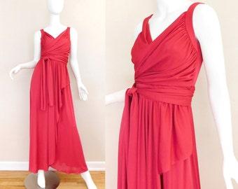 Sz 4 70s Red Nylon Goddess Dress - Women's Vintage Wrap Front Tie Waist Maxi Evening Gown - 26 Waist Small