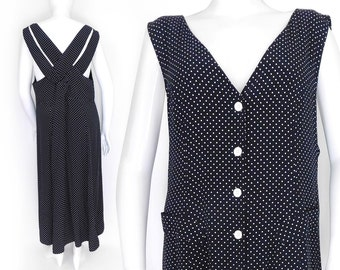 Sz 18 90s Polka Dot Maxi Jumper Dress - Vintage Women's Criss Cross Back Black and White Button Front Plus Size Dress