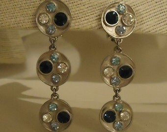 Vintage Long Silver Metal Clip Earrings with Glass Crystals
