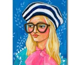 ORIGINAL portrait painting PINK BOW striped beret hat and big glasses Fashion art by Tascha