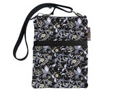 Crossbody Travel Purse also fits many tablets Kindle Fire /Nook Bag / iPad mini / FAST SHIPPING / - Nightengale Fabric