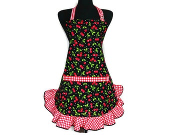 Retro Cherry Apron for Women with Red and White Check Ruffle, Pin Up Girl Kitchen Decor