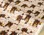 Japanese Fabric Maneki Neko dobby - brown - 50cm