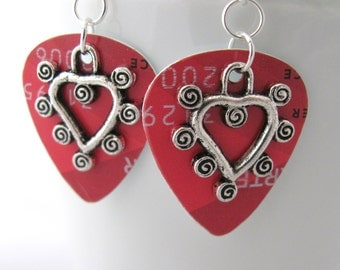 Heart Earrings Red Earrings Guitar Pick Earrings Valentine's Day Swirly Hearts Gift Ideas for Girlfriend Gift Idea for Wife
