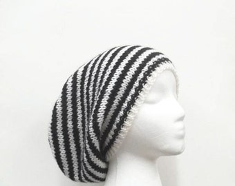 Black and white striped slouchy beanie hat   handmade   5088