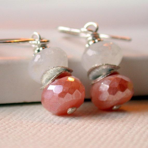 50 Percent Off! Sale. Blushing Drops. Moonstone Earrings. Silverite Earrings. Wire wrapped Earrings. Dangle Earring. Drop Earring.