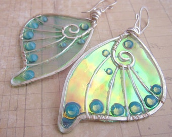 Sihaya Designs Faery Wing Earrings - Undine Green - Iridescent Fairy Wing Jewelry