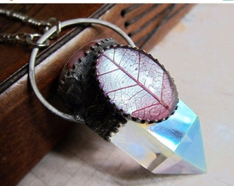Sale - In the Bower of Titania - Magical Quartz Talisman Pendant with Color-shifting Skeleton Leaf Cabochon