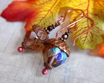 Acorn Charm Earrings - Copper Earwires