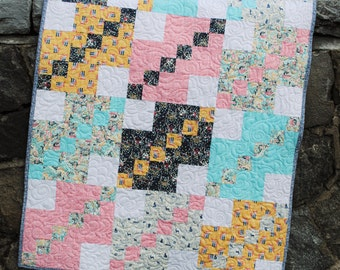 Baby Quilt Pattern, ....five sizes Lap, Twin, Full, Queen and King. Easy beginner pattern. A Straight Path.