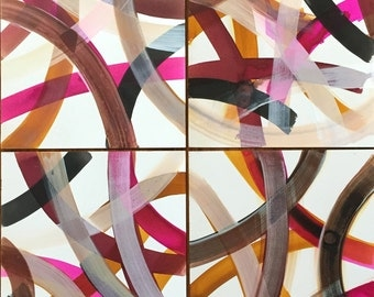 """SET of 4 Infinite Path colored ink on paper unframed works on paper 12"""" x 9"""" each"""