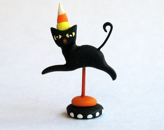 Handmade Miniature Halloween Frolicking Black Cat  by C. Rohal
