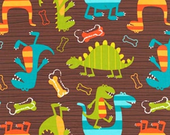 Michael Miller DINO DUDES Brown cotton fabric 1/2 yard