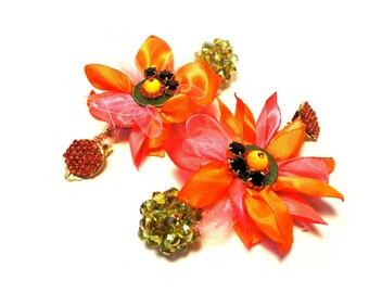 "Sunshine ""Daisy"" clip earrings, orange, red, pink, green, yellow"