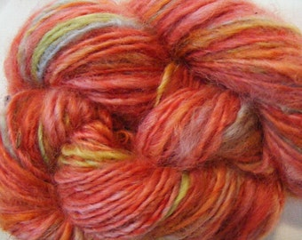 WATERMELON SHUFFLE Handspun Wool Yarn Coopworth Yearling Fleecespun 171yds 3.0oz 8wpi aspenmoonarts knitting artyarn