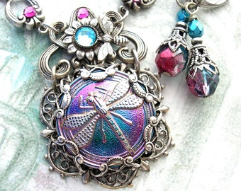 Dragonfly Glass Button Necklace and Earring Set - Fuchsia Aquamarine Glass Button Antiqued Silver Necklace