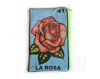 LA ROSA Loteria Makeup Bag - School Supply Pouch - Pencil Bag