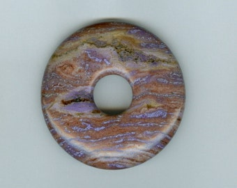 45mm Purple and Brown Agate PI Donut Pendant 456