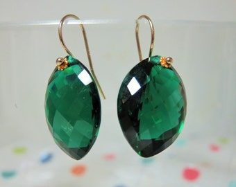 Green Amethyst Checker Board Marquoise Shape Briolettes (34.16ct), and 14K Solid Yellow Gold Earwires
