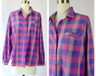 1980s button up plaid shirt/ small-medium