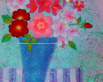 Painting - Acrylic Painting of Summer Roses