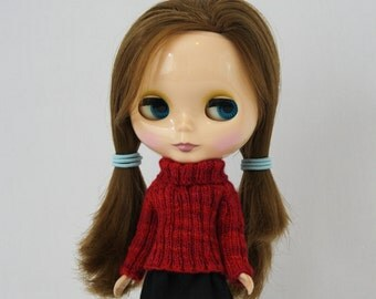 Blythe doll Anastasia Sweater knitting PATTERN - long sleeve big neck pullover 4 Neo - instant download - permission to sell finished items