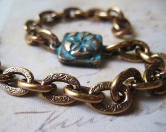 Sand Dollar Bracelet, Beach Bracelet, Verdigris Charm Link, Textured Brass, Golden Brass, Artisan Charm, Verdigris Green Aqua, candies64