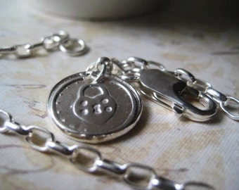 Charm Bracelet, Sterling Silver, Wax Seal Charm, Handcrafted Charm, Fine Silver, Heart Shape Locke, candies64, Stamped Charm, womens jewelry