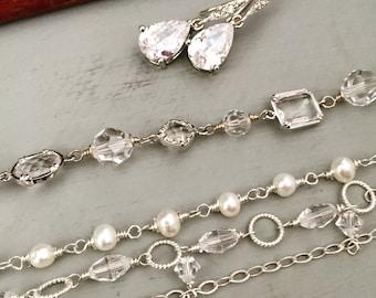 Bridal Bracelet, Chain Layering Bracelet, Couture Wedding Bracelet, Pearl and Crystal Bracelet, Freshwater Pearls Bracelet, Wedding Bracelet