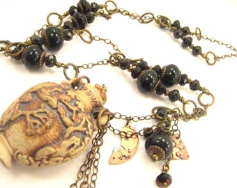 Tree of Life ... Raku ... Steampunk Bottle And Onyx Gemstone Victorian One of a Kind Necklace