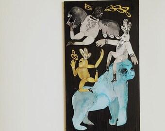 Gorilla Dance Original on wood by Emma Kidd
