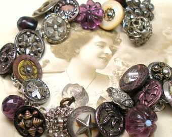 """1800s BUTTON charm bracelet, Antique Victorian STARS in purple & silver. 8"""" one-of-a-kind jewellery."""