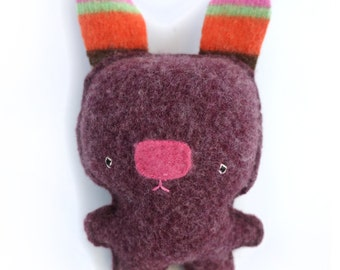 Purple Rabbit - Recycled Wool Sweater Plush Toy