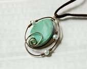 Green and Bronze Polymer Clay Spiral Necklace, Gifts under 20
