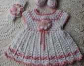 Crochet Baby Dress - Crochet Headband - Crochet Booties Shoes - Pink - 3 pc. Crochet Baby Set - Infant Dress Shoes Headband