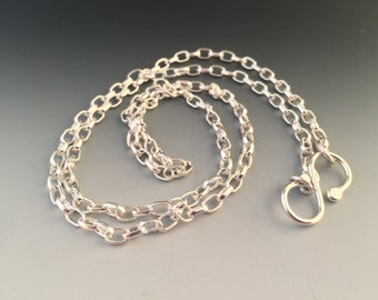 "20 Inch Sterling Silver 3.2mm Oval Rolo Chain with Handmade ""S"" Hook Closure"