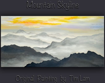 Original art Abstract Painting large Oil Painting, Dawn mountain skyline Landscape Painting Rising Sun by tim lam 48x24x1.4