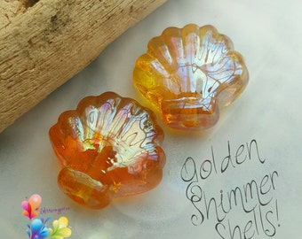 Lampwork Beads Golden Shimmer Shells