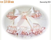 SALE 10% OFF Gorgeous Peach and Ivory Keepsake and Toss Wedding Garter Set BB